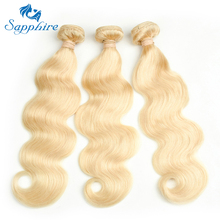 Sapphire Bølgete Hårforlængelser Body Wave Human Hair Bundles 613 Blonde Human Hair 3 stk. Body Wave Blonde Bundle For Hair Salon