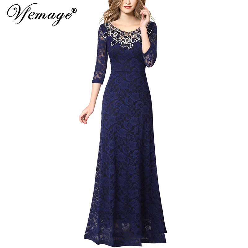 Vfemage Womens Elegant Applique Floral Lace Formal Evening Gowns Wedding Party Mother of Bride Prom A