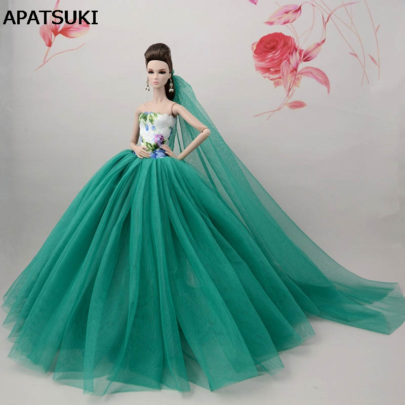 "Blue Green Doll Dresses Evening Gown Clothes Wedding Dress For 11.5/"" Doll Veil"