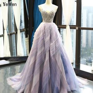 Image 1 - 2020 elegante vestido de noite feminino glitter gem deep v pilha dobre rendas sem mangas spagheti cinta formal festa vestidos de noite