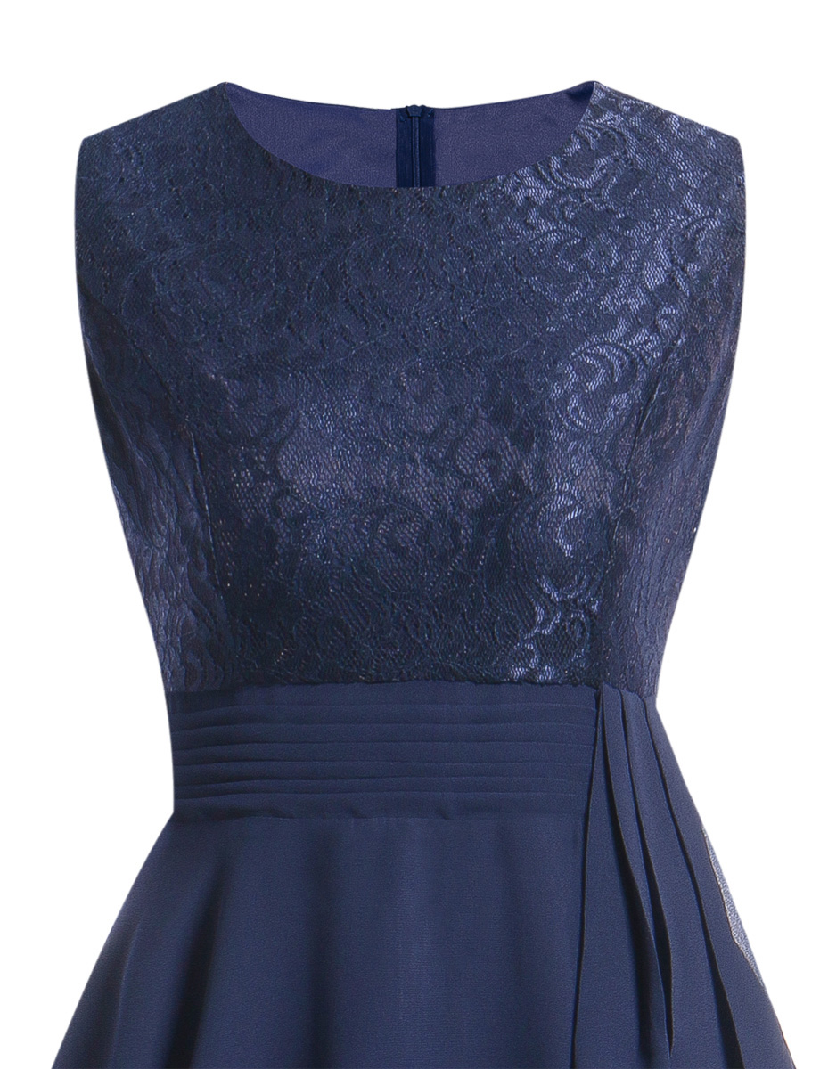 OML522L#Chiffon and Lace navy blue Short Bridesmaid Dresses Weddiong Party Dress 2018 Prom Gown Women Fashion Wholesale Clothing 11