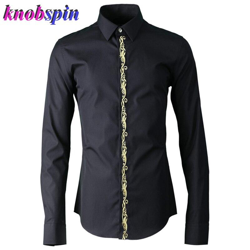 Or argent couleur Placket broderie chemise hommes de haute qualité 100% coton affaires hommes robe chemises 2019 solide mince décontracté vêtements