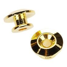 2pcs Golden Strap Button w/ Mounting Screw for Guitar Mandolin