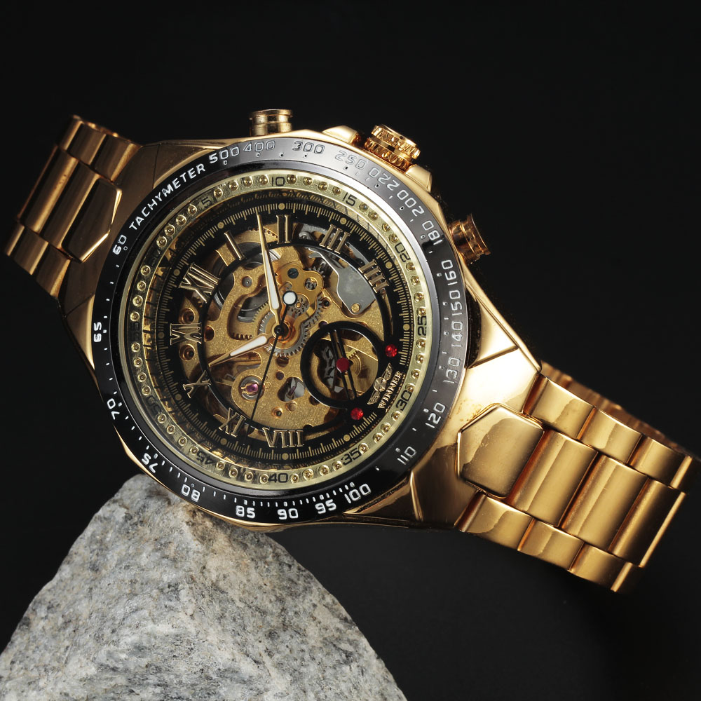 Gold Mens Male Casual Watches Full Steel Automatic Mechanical Clock Sport Military Clocks Gift