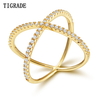 TIGRADE Cubic Zirconia Inlay Gold Cross Rings For Women 925 Silver Ring Fashion Wedding Bands Female Jewelry Party Anel Gift