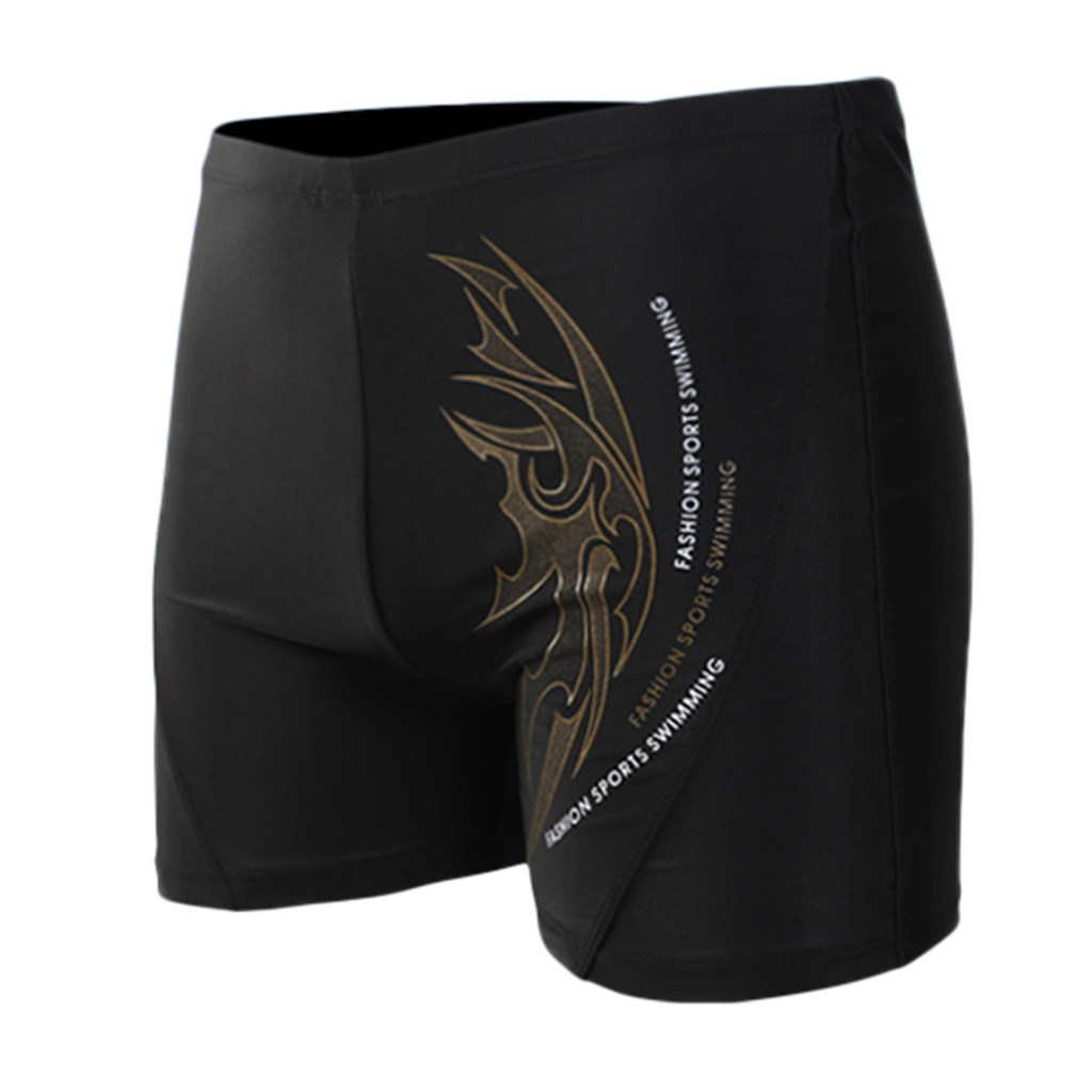 2019 Summer Men Swim Shorts Printing Sexy Nylon Trunks Breathable Built-In Beam Line Briefs Swimming Trunks Swimming Swimwear