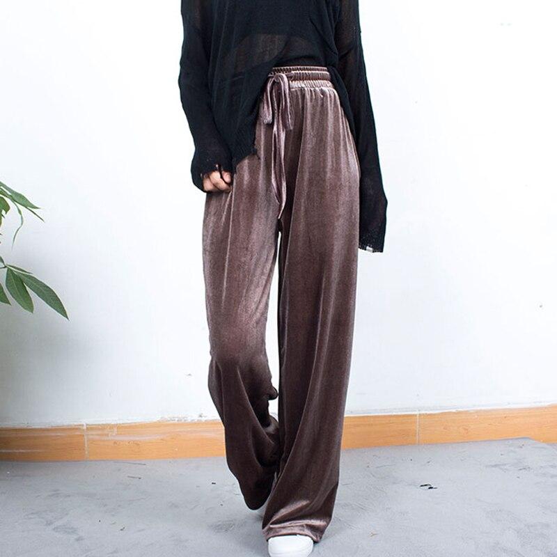 High Waist Pleuche   Wide     Leg     Pants   Women Hot Sale Solid Colors Elastic Waist Lace Up Loose Trousers Femme Casual Sweatpants S-2XL