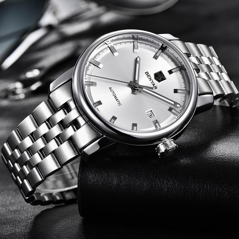 Image 4 - New Men's Watches Benyar Fashion Automatic Mechanical Wristwatches Mens Waterproof Sport Clock Steel Watch Men Relogio Masculino-in Mechanical Watches from Watches