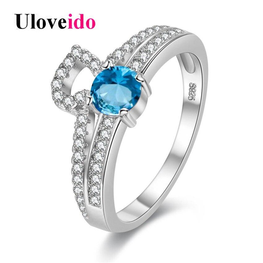156cea96c709 Uloveido azul anillo doble rhinestone femenino regalos para Niñas Anillos  para las mujeres bijoux boda joyería cúbicos zirconia y2718