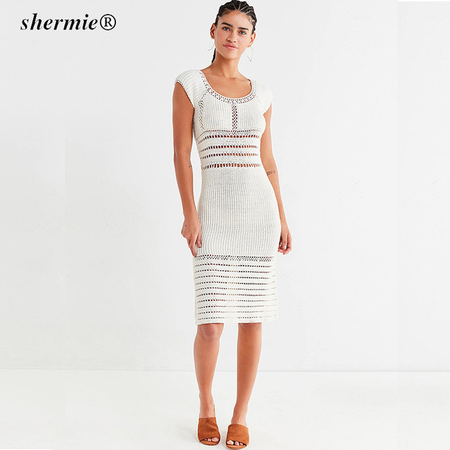 deep v trim cocktail dress. High Quality Crochet Women Summer Pretty  Knee-Length Vestidos Famale Hollow Out O Neck Dresses. Vestido tubular en  ... 743225f77