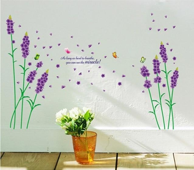 Purple Lavender Vinyl Wall Sticker Girls Plants Adhesive Decals Wallpaper  Women Voilet Bedroom Livingroom Home Decoration