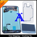 Frete grátis + tampa traseira original de 100% testado para samsung galaxy s5 g900 g900f lcd digitador assembléia botão + adesivo