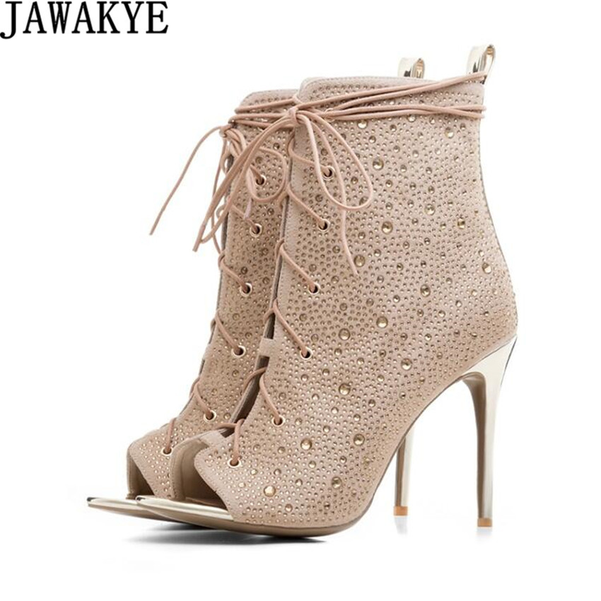 JAWAKYE New Chic Golden Women Bling Bling Crystal Stiletto Heel Ankle Boots Glittering Peep Toe Lace Up Dress Sandal Booties цена