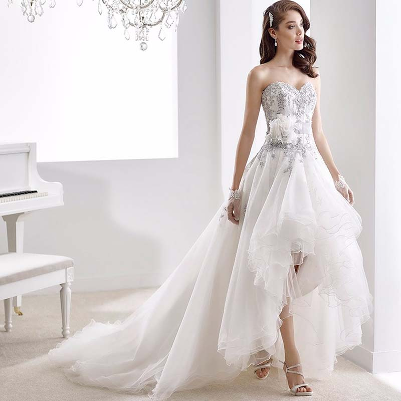 Exquisite Custom Made High Low Wedding Dresses Sweetheart Organza Short Front Long Back Bridal Gowns trouwjurk