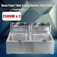 220V Chef Electric Commercial Deep Electric Fryer Twin Frying Basket Chip Cooker 5000W Fry Pan Kitchen Appliances