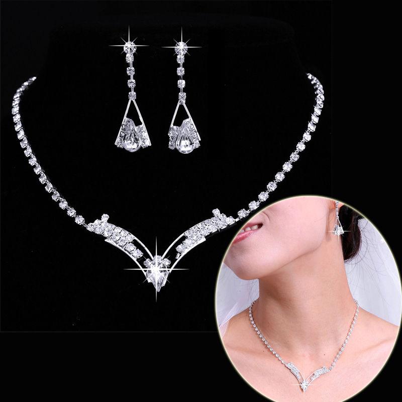 Vintage jewelry rhodium plated Fashion full rhinestone jewelry sets stud earrings necklaces Crystal Wedding Jewelry Sets Women
