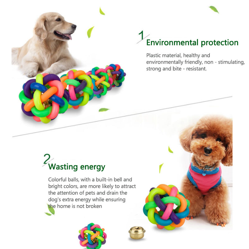 1Pc Round Rubber Rainbow Pet Ball Colorful Dog Woven Ball Dog Cat Interactive Toy Chew Toys Teeth Training Pet Supplies
