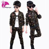 Children Camouflage Clothing Sets Spring Fall Boys Girls Cotton Sport Suits Teenage Long Sleeve Jacket Pant
