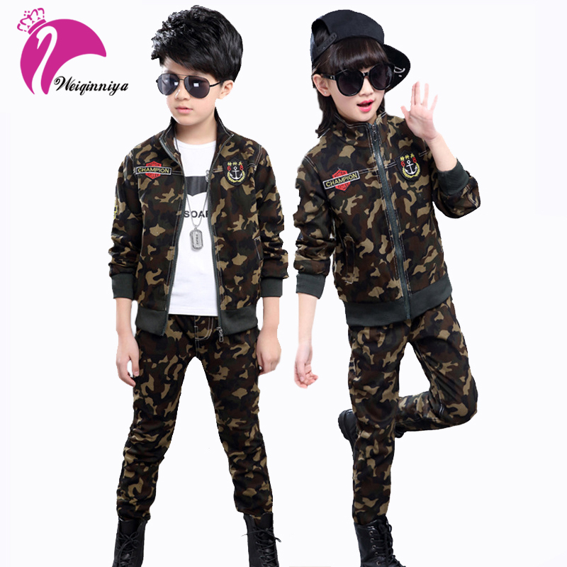 Children Camouflage Clothing Sets Spring Fall Boys Girls Cotton Sport Suits Teenage Long Sleeve Jacket+Pant 2 Piece Clothes Sale boys camouflage sports suits 2017 new autumn cotton boys long sleeve sportswear 2 pcs set children clothing 3 5 7 9 11 14 y 6
