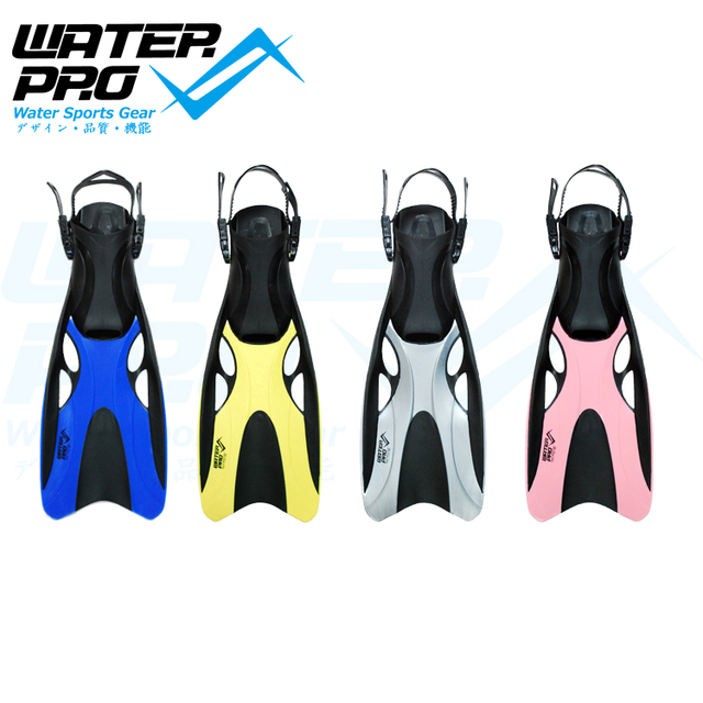Water Pro Adjustable Open Heel Swimming Fins Marlin Adult Four Colors Unisex for Snorkeling Scuba Diving