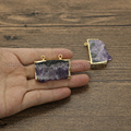 Natural amethyst slice pendant beads raw druzy amethyst pendant natural crystal quartz double bails connector druzy jewelry 123