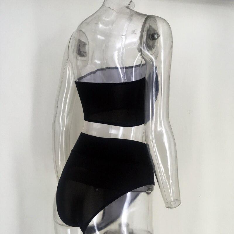 High Waist Swimsuit 2018 Sexy Bikini Women Brazilian Pad Swimwear Push Up Bandeau Top Plus Size Bottom Bikini Set Bathing Suits