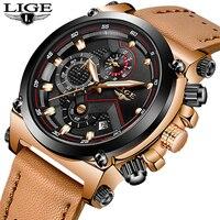 LIGE Для мужчин часы лучший бренд роскошных Бизнес кожа кварцевые часы Для мужчин армии Водонепроницаемый Автоматический хронограф Relogio
