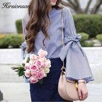 Hirsionsan Elegant Long Flare Sleeve Women Blouse Shirt Casual Striped Bow Tops Autumn Fashion Split Sleeve