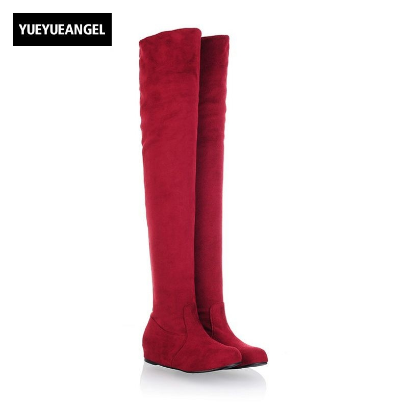 2018 New Fashion Stretchy Thigh High Boots Faux Suede Over Knee High Boot Hidden Wedge Flat Slip On Round Toe Big Size US 4-12.5