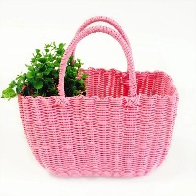 Plastic Woven Basket, Portable Shopping Basket, Sewing Pet Basket, Bath  Blue Free Shipping