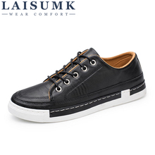 2019 LAISUMK Leather Men Flats Shoes Hand Sewing Oxfords Zapatos Hombres Trendy Black Brown Gray