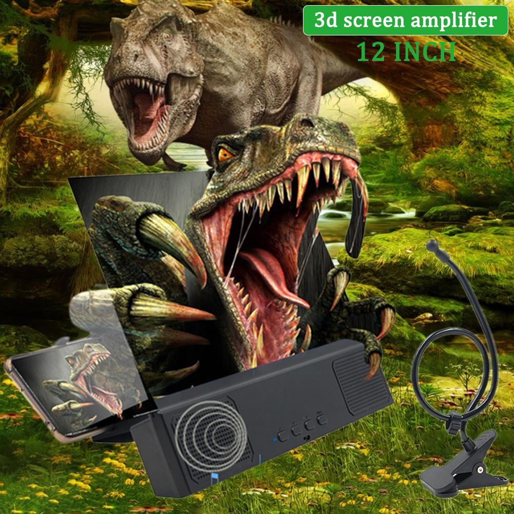 """Image 2 - 3D HD Phone Screen Magnifier Bracket 12"""" Phone Desktop Movies Amplifier Stand Holder For Smartphone With Bluetooth Speaker-in Phone Holders & Stands from Cellphones & Telecommunications"""