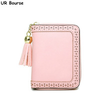 UR BOURSE Girls Multi-card Wallet Ladies Business Mini Card Holder Female Large Capacity With Zipper Womens Short