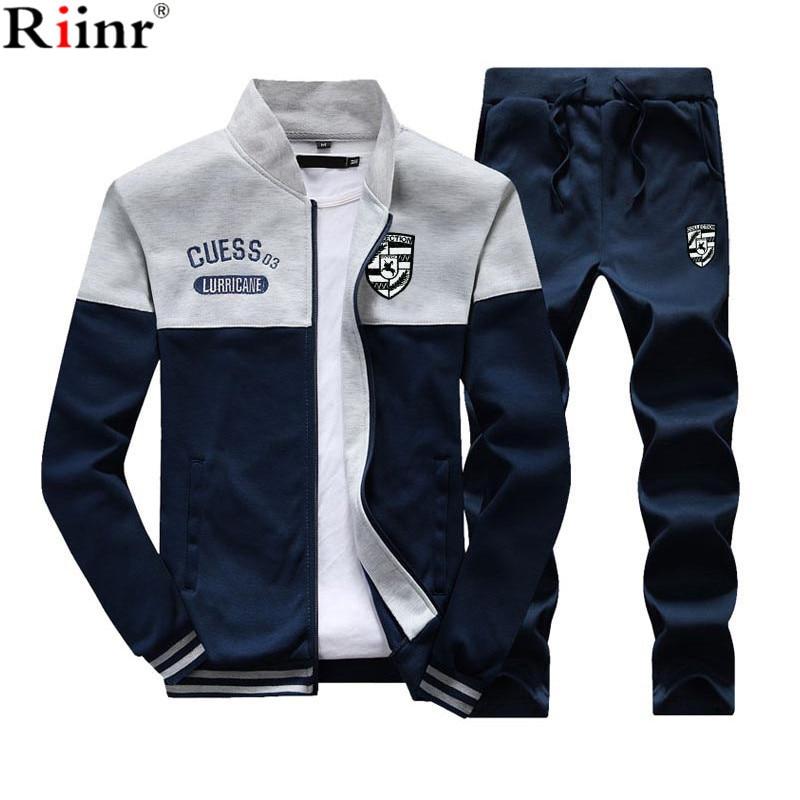 95b1cd1afe31 Riinr 2018 Mode Neue Ankunft Sporting Anzug Männer Frühling Und Herbst  Casual Sweatshirt + Jogginghose Zwei