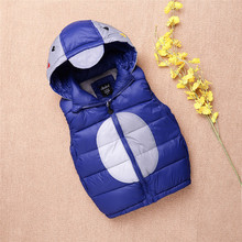 2017 New Children's Cotton And Hooded West  Children Outerwear Winter Jackets Coats  Baby Boys Girls Keeping Warm Vest