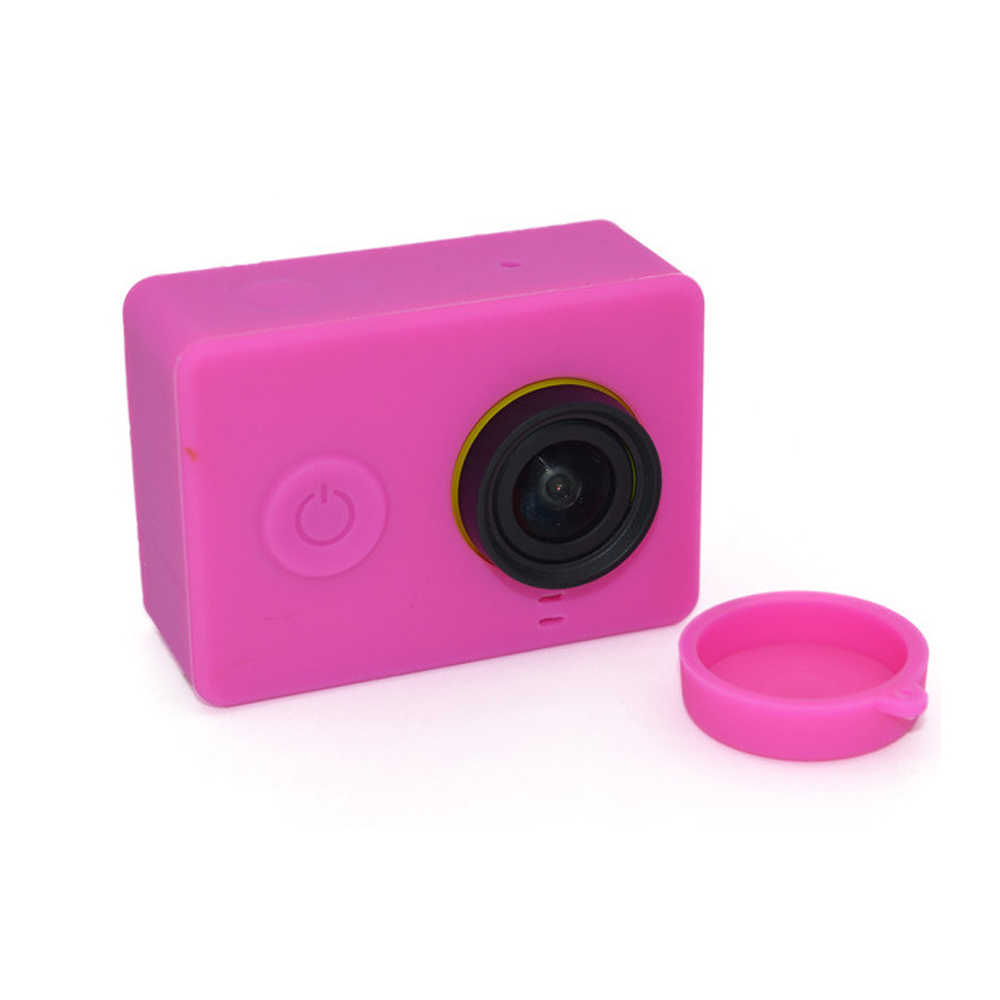 Colorful Silicone Case + Lens Cover for Xiaoyi Action Camera Accessories Rubber Shell for YI Action Camera