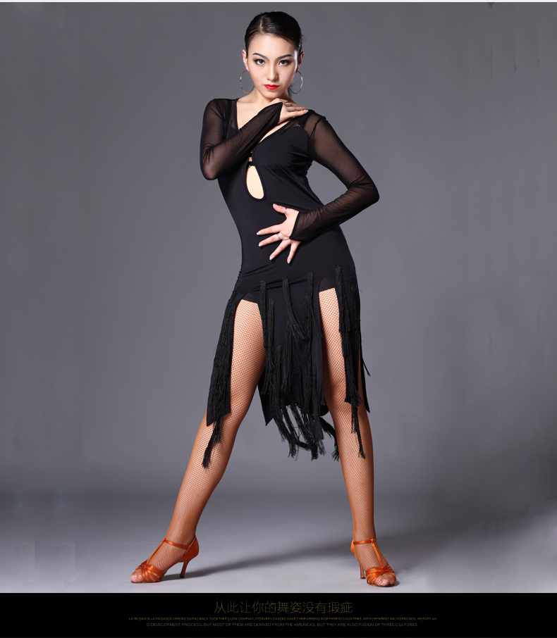 New Latin Dance Costumes Sexy Tango Dresses Female Adult Tassel Black Tangocha Cha