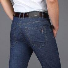 Icpans denim calças de brim masculinas primavera verão negócios calças de brim masculino em linha reta casual algodão calças de brim dos homens mais tamanho 40 42