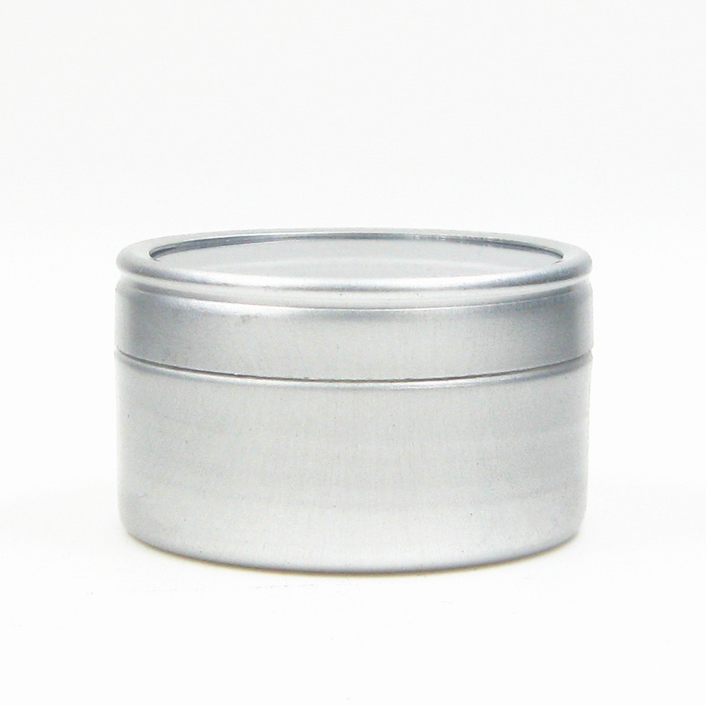 20ml Empty  Round Aluminium, Metal,Container,case,jar, Pot, Balm Tins With Clear View Window Lid