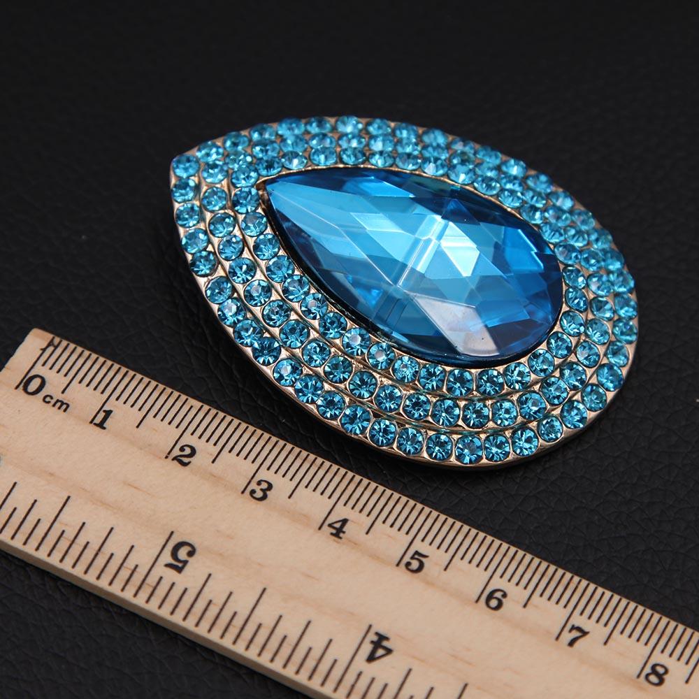 Luksusowa broszka z kryształem górskim i łezką, metalowa, - Modna biżuteria - Zdjęcie 4