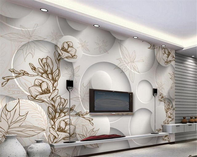 beibehang 3d papier peint moderne ligne dessin magnolia feuille d 39 rable vivant chambre 3d tv. Black Bedroom Furniture Sets. Home Design Ideas