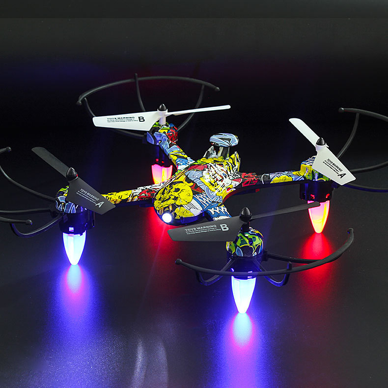 2.4Ghz WIFI FPV RC Helicopter Graffiti Drone With LED Lights Professional Quadcopter For Kids Gift