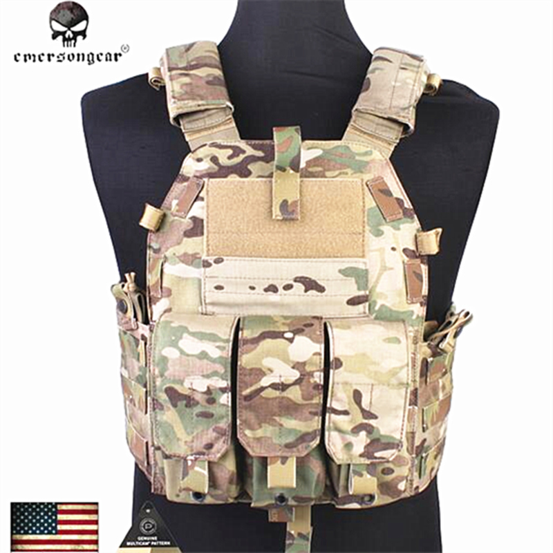 2018 New Emersongear Molle Vest Searching Sport Tactical Vest Airsoft Fight 094Okay M4 Pouch Vest Gear Em7356 Multicam Aor1 Black