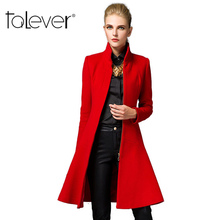 2016 Fashion Women Trench Woolen Coat Winter Slim Long Mandarin Collar Overcoat New Spring Red Black Coats Long Wool Outerwear