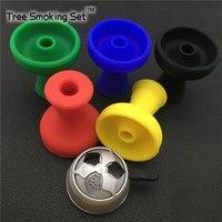 1pc Silver Scrub Hookah Bowl+1pc Silicone Bowl Hookah Bowl Holder water pipe Metal Heat Tobacco For Hookah Tobacco Tmoking Tubes