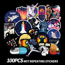 100PCS/Bag Universe Space Stickers Laptop Skateboard Luggage Waterproof Stickers Classic Toys For Kid Birthday Gift Sticker Pack(China)
