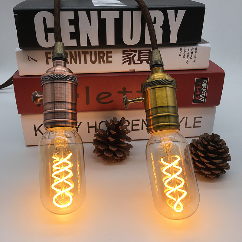 Dimmable soft flexible filament bulb T45 4W spiral vintage soft led filament lamp warm white dimmable vintage flexible gild glass led filament bulb straw hat spiral lamp 2200k 4w led bulb 40w equivalent edison bulbs lamps
