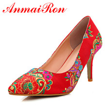 цена на ANMAIRON Vintage China Style Red Bridal Shoes Woman Satin Embroidered Shoes Sexy High Heel Pumps Women