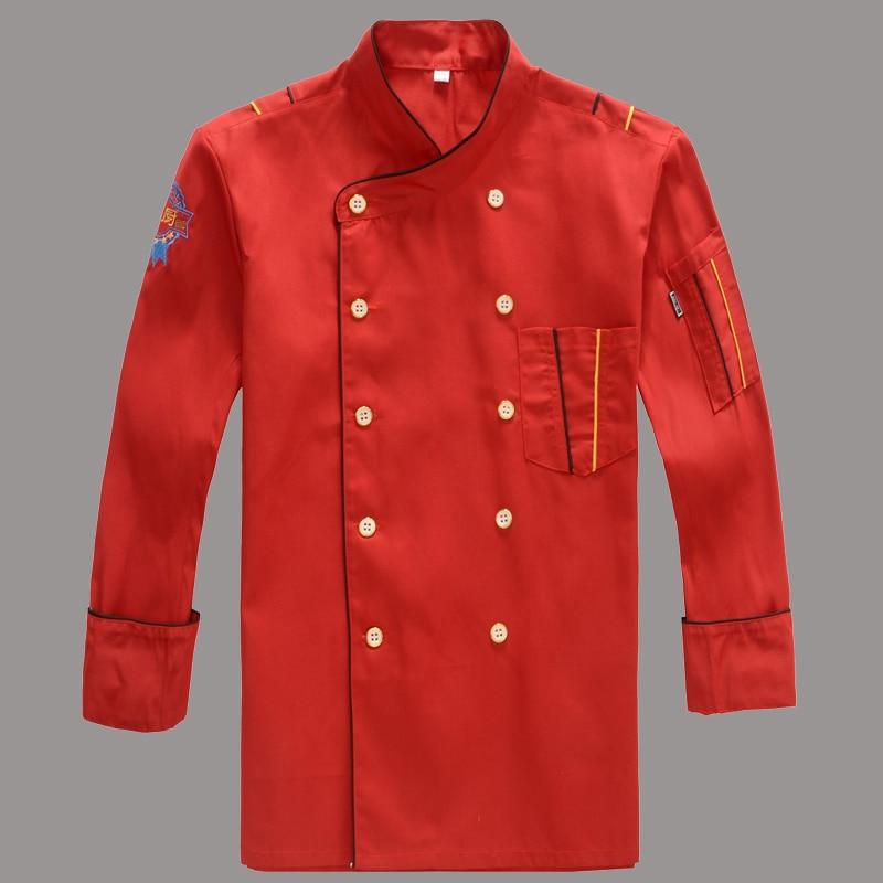 لباس الشيف للرجال بأكمام طويلة فندق الشيف سترة حمراء مزدوجة الصدر البدلة مطبخ مطعم موحدة الشيف