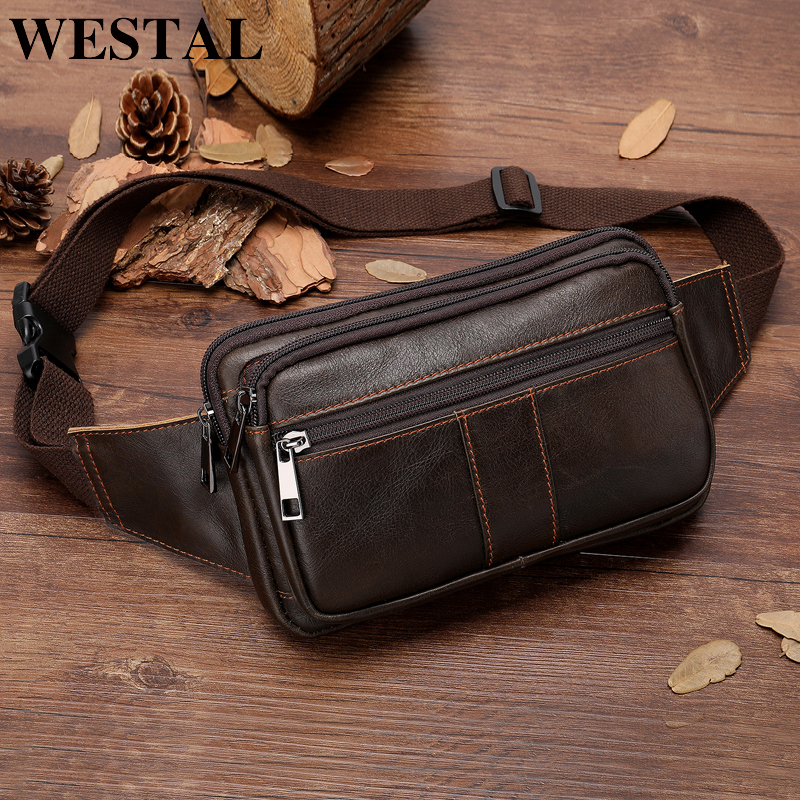 WESTAL Genuine Leather Male Waist Pack Fanny Pack Men Leather Belt Waist Bags Phone Pouch Small Chest Messenger For Man 8977